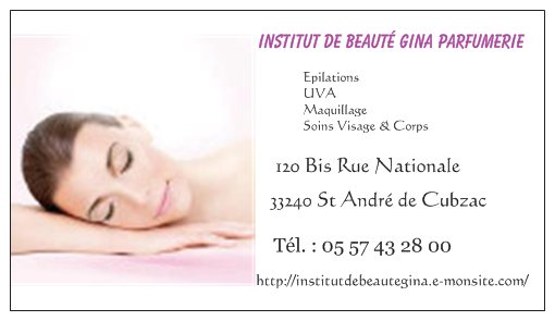 Carte De Visite Institut Beaute Gina Parfumerie